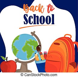 back to school education map rucksack apple and pencils
