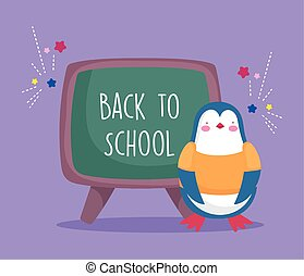 back to school education penguin with chalkboard