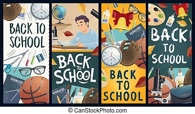Back to school education vector banners