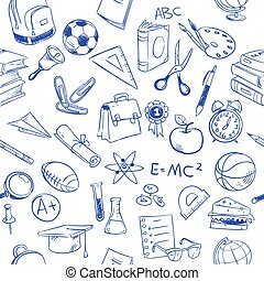 Back to school, education vector doodles, pencil drawing seamless pattern