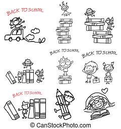 back to school - hand drawing cartoon back to school
