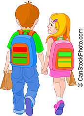 Back to school - Illustration of girl and boy go to school...