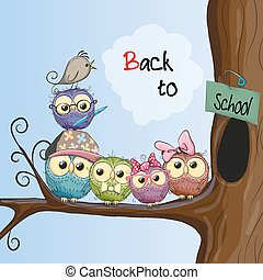 Back to school - Five cartoon owls and a bird on the branch