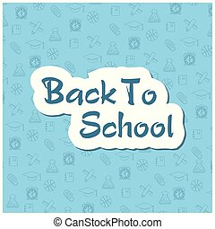 Back to school flyer template with different school objects.