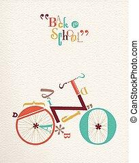 Back to school font hipster bike