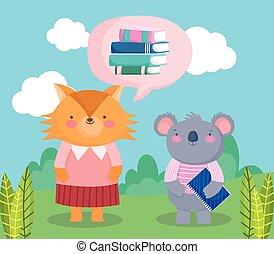 back to school, fox koala books with notepad cartoon