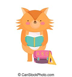 back to school, fox reading book with bag ruler cartoon