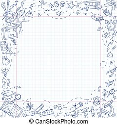 Back to school. Freehand drawing school stationery items on sheet of exercise book. Template for advertising brochure. Ready for your message. In the style of children's drawings. Vector illustration