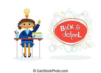 Back To School Girl Pupil Sitting At Desk Studing