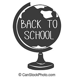 Back To School. Globe. Earth model. Vector illustration. Isolated on White