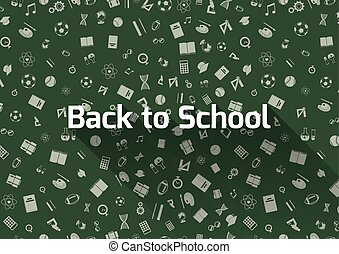 Back to school, green background with icons