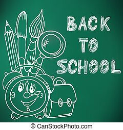 Back to school. Green board. Drawing with chalk