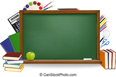 Back to school. Green board with school supplies. Vector.