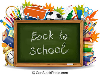 Back to school. Green chalkboard with school supplies....