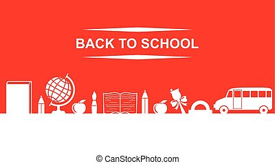 Back to school greeting banner with text on red background