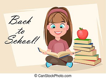 Back to School greeting card, poster or flyer. Cute girl sitting and reading book, cartoon character. Vector illustration
