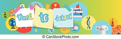 Back To School Greeting Colorful Banner With Studing Supplies