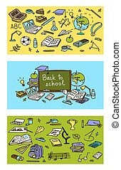 Back to school, hand drawn 3 in 1 set. Colored sketch, doodle, vector. school pack objects.
