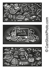 Back to school, hand drawn 3 in 1 set. sketch, doodle, vector. Black Chalk board style.