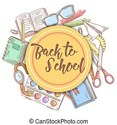 Back to School Hand Drawn Background. Education Concept with Books, Notebook and Paint. Vector illustration