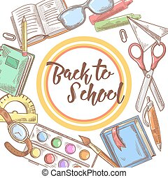 Back to School Hand Drawn Background. Educational Concept with Books, Notebook and Pen. Vector illustration