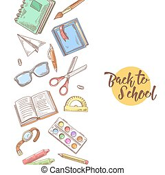 Back to School Hand Drawn Design. Educational Concept with Books, Notebook and Pen. Vector illustration
