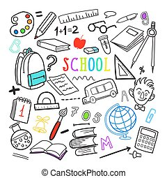 Back to School Hand Drawn Doodle. Education Elements Set. Vector illustration
