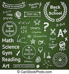 back-to-school, hand-drawn, elementos