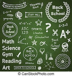 Back-to-school hand-drawn elements - Back to school hand...