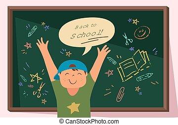 Back to School Happy Boy with Blackboard
