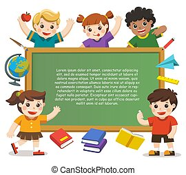 Back to school. Happy children holding blank poster. Template for advertising brochure on white background.