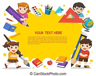 Back to school. Happy children with elements of school. Template for advertising brochure on white background.