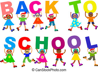 Back to School Happy Diverse Kids Text