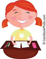 Back to school: Happy red hair girl - Small pupil sitting in...