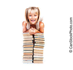 Back to school. Happy smiling schoolgirl with stack of books. Education concept