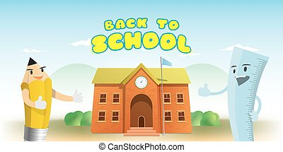 Back to school heading and character cartoon design of pencil and ruler with  brick school building cartoon illustration vector. Education concept.