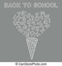 Back to school. Ice cream cone, letters, numbers.
