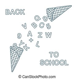 Back to school. Ice cream cones, letters, numbers.