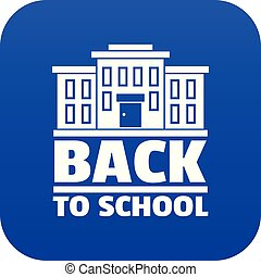 Back to school icon blue vector