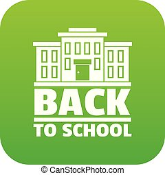 Back to school icon green vector