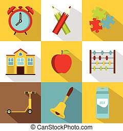 Back to school icon set, flat style