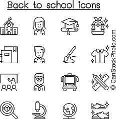 Back to school icon set in thin line style