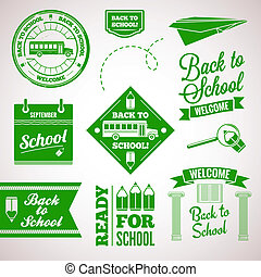 back to school icon set labels design