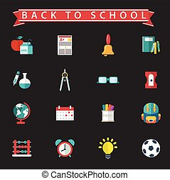 Back To School icon set. Vector Illustration