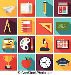 Back To School icon set. Vector Illustration.