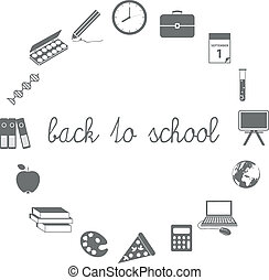 back to school icons in circle