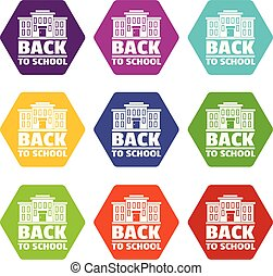 Back to school icons set 9 vector