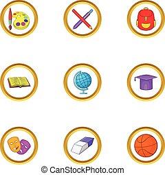 Back to school icons set, cartoon style