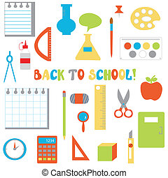 Back to school icons set - funny flat design for children