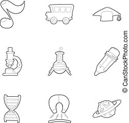 Back to school icons set, outline style